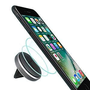 Trianium Magnetic Car mount for Cell Phone, Universal Air Vent Holder [Aluminum Frame] for iPhone 8 7s 7 6s 6 Plus,SE 5s 5c 5,Galaxy S8 S7 S6 Edge,Note 8,Pixel 2 XL, Nexus 6p,5X,LG G6,HTC -Space Grey