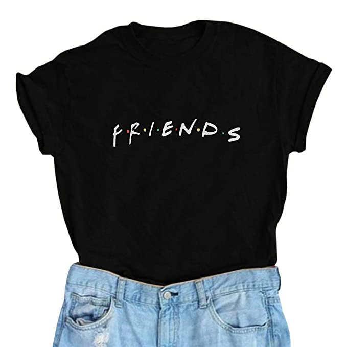 9b53cafd1 Friends T Shirt Womens Short Sleeve Letter Print Graphic Tee Tops I'll Be  There