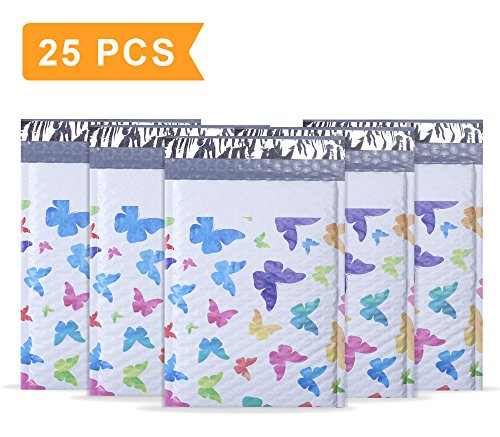 """Mailer Plus #0 6x10"""" Colorful Butterfly Poly Bubble Mailers Pack of 25Pcs Padded Envelopes Boutique Custom Bags"""