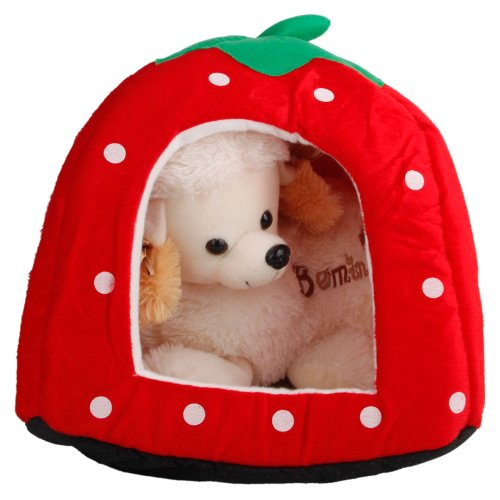 Huahua Pet Igloo Bed Cute Strawberry Shape Pet Nest,Warm Plush Cave Portable Foldable Sleeping Bag Cat Dog House Red - M