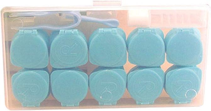 JUNGEN Caja de lentes de contacto de gran capacidad Estuche de lentes de contacto con 5 Estuche de lentillas Pinza Aplicador Botella Kit de viaje de lentes de contacto (Azul): Amazon.es: Salud