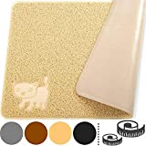 """Smiling Paws Pets Cat Litter Mat, BPA Free, XL Size 35"""" x23.5"""", Non-Slip - Tear & Scratch Proof, Easy to Clean Kitty Litter Catcher with Scatter Control (Extra Large Beige)"""