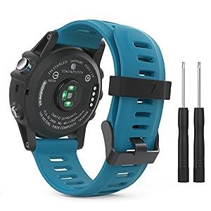 MoKo Garmin Fenix 3 Bracelet, Bracelet de Remplacement Flexible en silicone avec des outils pour Garmin Fenix 3 / Fenix 3 HR / Fenix 5X (pas Compatible de Fenix 5 )Smart Watch, Bleu