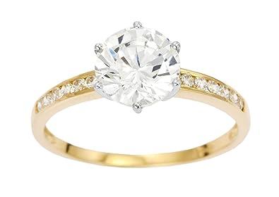 Bague de  9 carats en or jaune pour Femme et pierre en Oxyde de zirconium