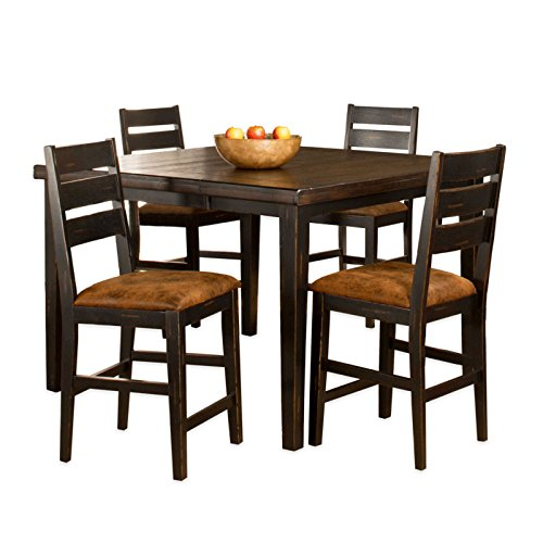 5-Piece Counter Height Dining Set with Ladder Back Stools in Black/Antique Brown