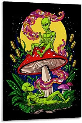 Aliens Magic Mushroom Weed Poster Decorative Painting Canvas Wall Art Living Room Posters Bedroom Painting 24x36inch 60x90cm