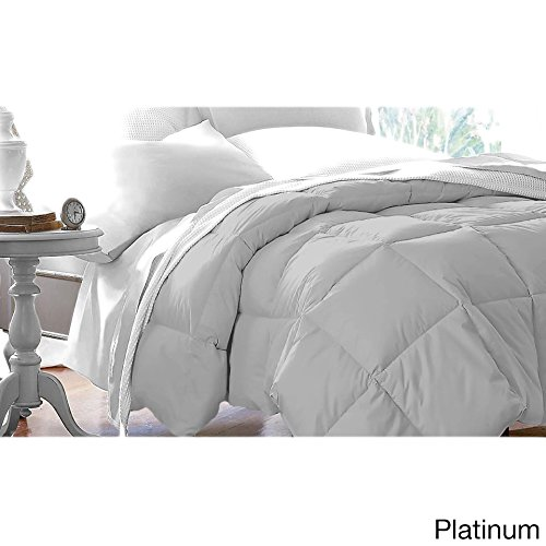 Single Piece King Platinum Down Alternative Comforter - 104 x 88 inches, Fancy Luxury Bedding, For Master Bedrooms, Microfiber, Polyester, Machine Wash, Hypoallergenic, Down Gray