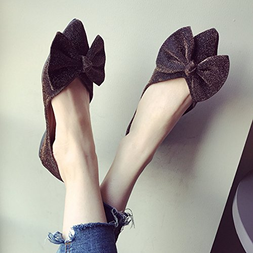 Dore Anti Confortable Femmes Peu Semelle Chaussures Chaussures La Profonde Mode Kphy Or Bow Robe Pointu Fort Printemps Slip Et 4XwqSxg