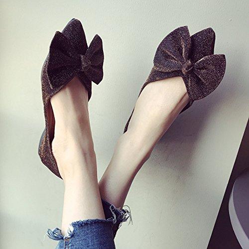 Dore Anti Confortable Femmes Peu Semelle Chaussures Chaussures La Profonde Mode Kphy Or Bow Robe Pointu Fort Printemps Slip Et 4XwqSxg