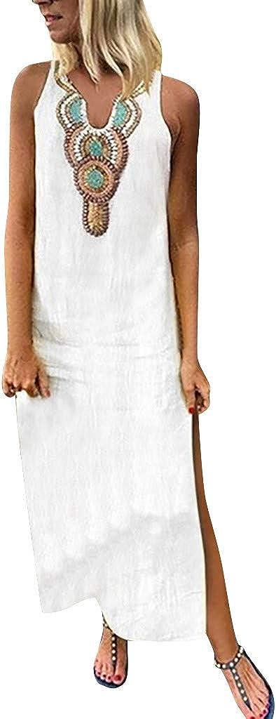 Vestido Largo sin Mangas con Cuello en v Impreso de la Mujer Dobladillo Dividido Vestido Largo Holgado de Kaftan