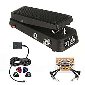 Jim Dunlop 535Q-B Cry Baby Multi Wah Pedal BUNDLED WITH Blucoil 2-Pack of Pedal Patch Cables, Power Supply Slim AC/DC Adapter for 9 Volt DC 670mA AND 4 Celluloid Guitar Picks