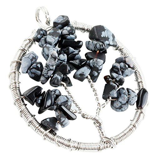 SUNYIK Snowflake Obsidian Tumbled Stone Tree of Life Pendant