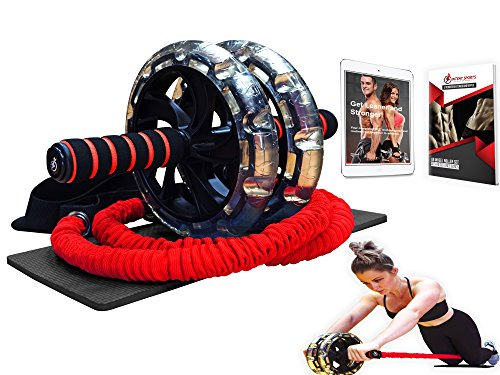 Multi Functional Ab Wheel Roller KIT with Resistance Bands, Kneepad, Guide, Workout Ebook. Abdominal Workout Wheel Roller with Large Double Wheels for Stability. Multi-Directional Ab Core Workout.
