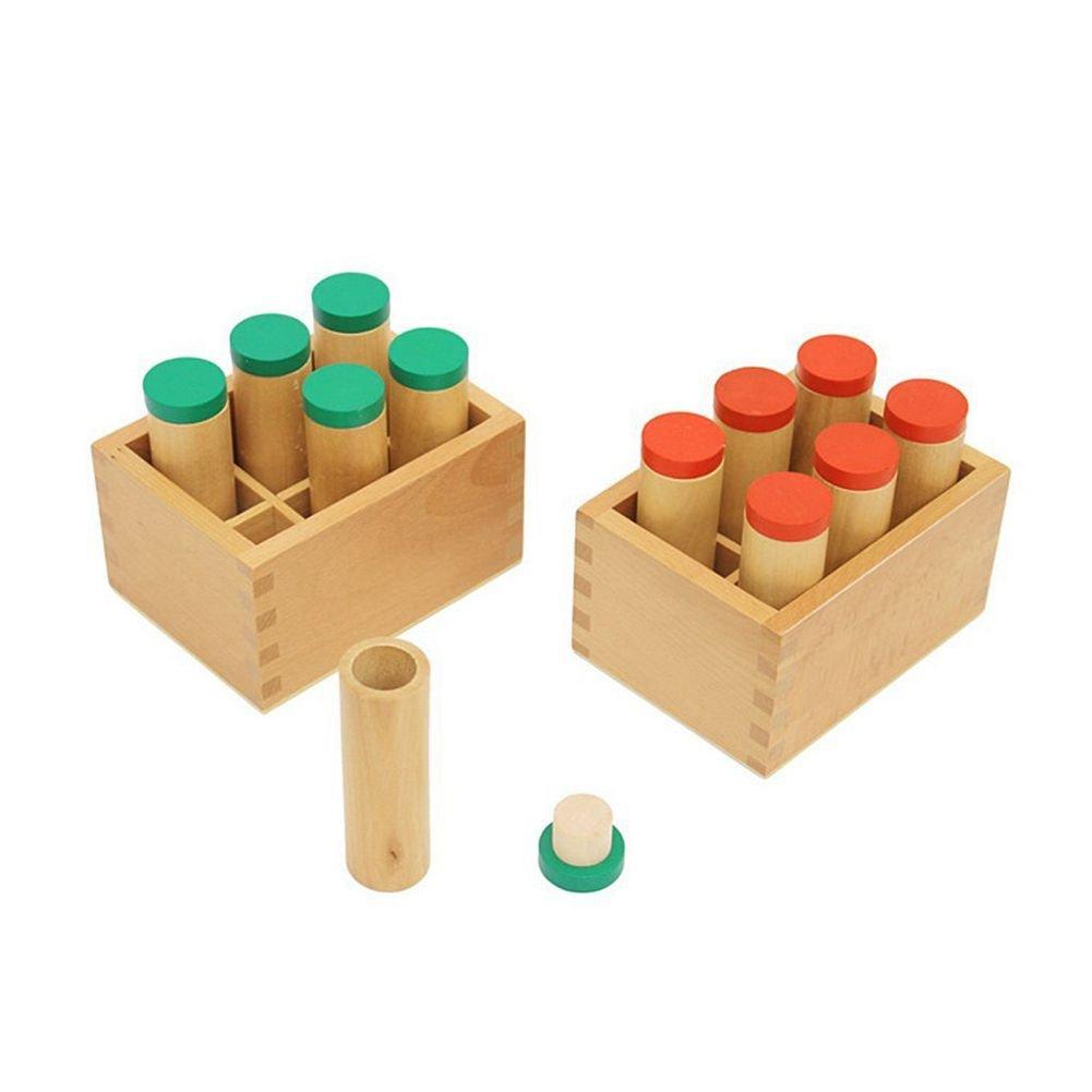 SODIAL Montessori de Madera Material auditivo Sensorial Portacontenedores Cilindro de Sonido