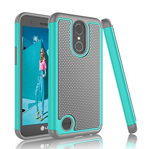 LG Harmony Case, LG K10 2017 Case, LG K20 Plus Case, Tinysaturn [YSaturn Series] [Mint/Gray] Shock Absorbing Dual Rubber Plastic Armor Defender Bumper Rugged Hard Cover Cases For LG K10 2017/LG V5