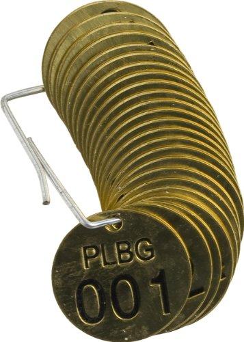Brady 232601 1/2'' Diameter Stamped Brass Valve Tags, Numbers 001-025, Legend''PLBG'' (25 per Package) by Brady