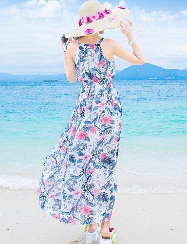 Mujer Corte Swing Vestido PlayaFloral Halter Maxi Sin Mangas Seda Verano Tiro Medio Microelástico Fino , s