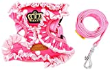 SMALLLEE_LUCKY_STORE Pet Polka Dots Crown No Pull Vest Harness Leash Set for Small Dog Cat, Pink, Medium