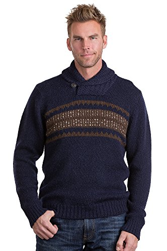 Trevor Peruvian Alpaca Wool Sweater, NAVY/BROWN, Size XLARGE (48-50)