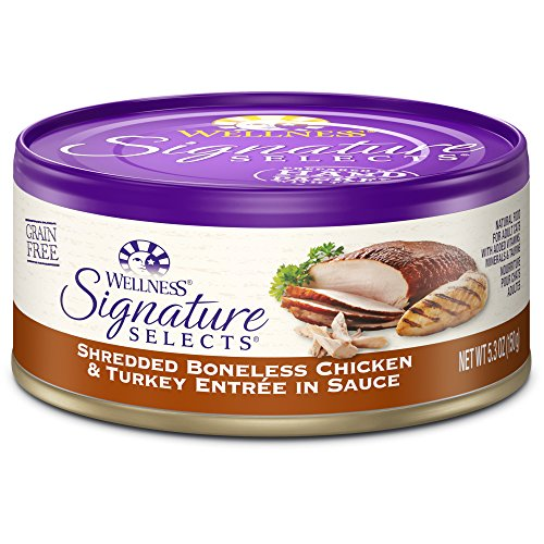 Wellness Signature Selects Natural Canned Grain Free Wet Cat Food, Shredded Chicken & Turkey, 5.3-Ounce Can (Pack of 24)