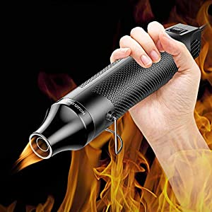 DIY Heat Gun 6.6ft Cable 300W Dual-Temperature Portable Hot Air Gun for DIY Craft Embossing, Shrink Wrapping PVC, Drying Paint, Clay, Rubber Stamp, Multi Function Hand-hold Heat Tools (Color: Black, Tamaño: Small)