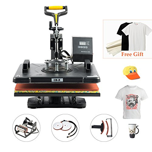 "CO-Z 8 in 1 12"" X 15"" Heat Press 360 Degree Swivel Heat Press Machine Multifunction Sublimation Combo T Shirt Press Machine for Mug Hat Plate Cap Mouse Pad 1250W by CO-Z"