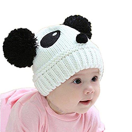 Cute Baby Girl Boy Winter Warm Panda Shape Knitted Wool Crochet Beanie Hat (White) (Panda Wool)