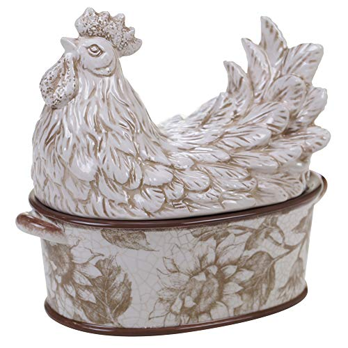 Certified International Toile Rooster 3-D Rooster Covered Bowl, 8.25' High,One Size, Multicolored
