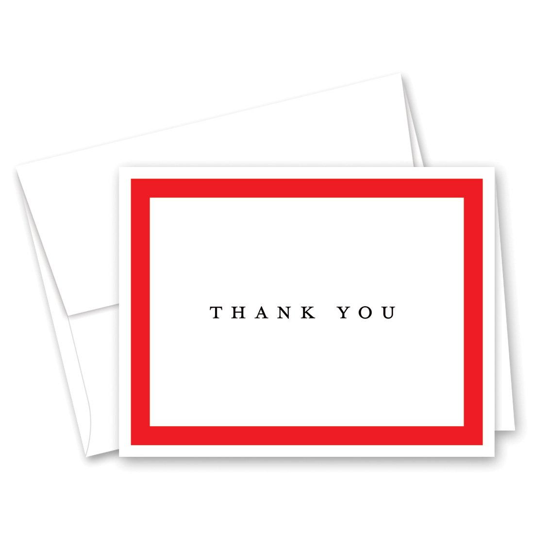 50 Simple Border Thank You Cards (Red)