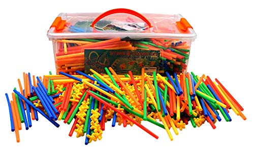 LARGE 800 Piece Straws Builders Construction Building Toy - Giant Pack with Special Connectors by Playlearn