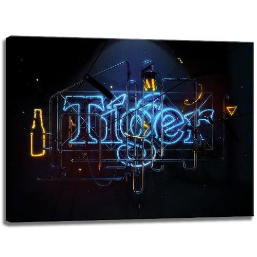 Tiger iluminado imagen cartel en formato lienzo: 120x80 cm ...