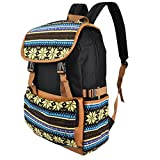 Premium Canvas Backpack Travel Shoulder School Bag Case for Apple MacBook Pro with Retina display 13'' 15''/HP/Dell/Lenovo/ASUS/Toshiba Acer 15.6 inch Laptops(Sami Black/Teal/Cream)