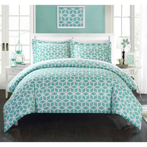 ite Modern Geometric Pattern Duvet Cover Queen Set, Luxurious Green Stylish 3D Square Cube Print Comforter Cover Bedding Solid Hippie Textured Design, Casual Style, Soft Microfiber (Cube Comforter Set)