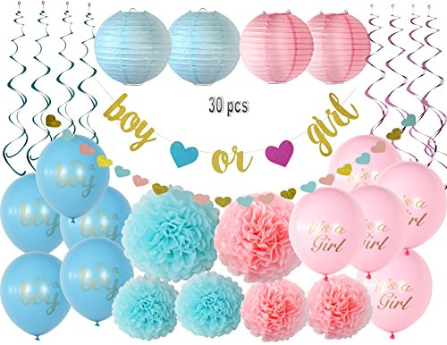Gender Reveal Party Supplies, Gender Reveal Decoration set, Deluxe Baby Shower Decoration Kit with Premium Gold Glitter Banner Glitter Heart Garland Pompoms Lantern Balloons and Foil Swirls -