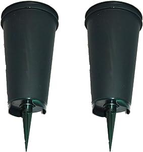 Flat Bottom Green Cemetery Vases 2 Pack