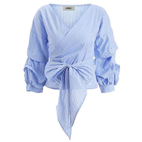 AOMEI Blue White Stripe Cotton Blouse Tops for Women Waisted Tie Puff Sleeve Size XXL - Stripe Cotton Top Blouse