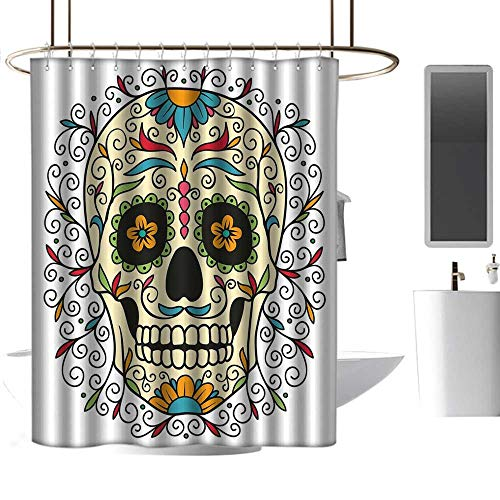 coolteey Shower Curtains torquise Sugar Skull Decor,Catrina Calavera Featured Figure Ornaments Macabre Remember The Dead,Multicolor,W48 x L84,Shower Curtain for Shower stall]()