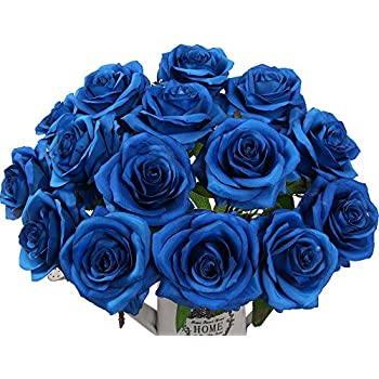 Amazon balsacircle 84 royal blue silk open roses 12 bushes artificial flowers amyhomie silk roses bouquet home wedding decoration pack of 15 mightylinksfo