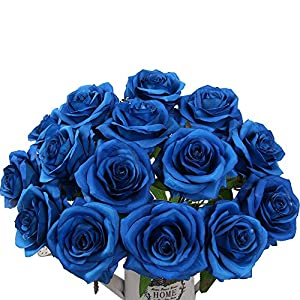 AmyHomie Artificial Flowers Silk Roses Bouquet Home Wedding Decoration Pack of 15 1