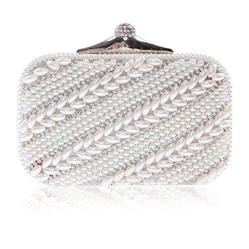 Damara Womens Rhinestones Studded Party Wedding Evening Handbag,Silver (Bag Metallic Pouch Evening)