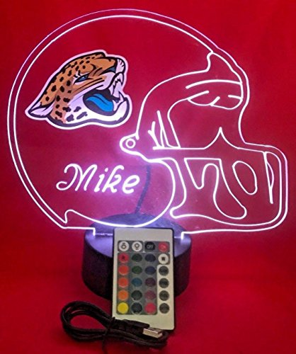 NFL Light Up Lamp LED Personalized Free Football Light Up Light Lamp LED Table Lamp Our Newest Feature - It's WOW, With Remote, 16 Color Options, Dimmer, Free Engraved, Great Gift (Jacksonville Jaguars Led)