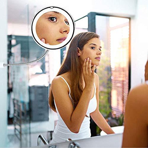 leegoal 10x Miroir Lumineux de Maquillage Miroir de vanit/é de salle de bain avec ventouse forte et 360 /° r/églable flexible col de cygne sans fil et compact Voyage miroir