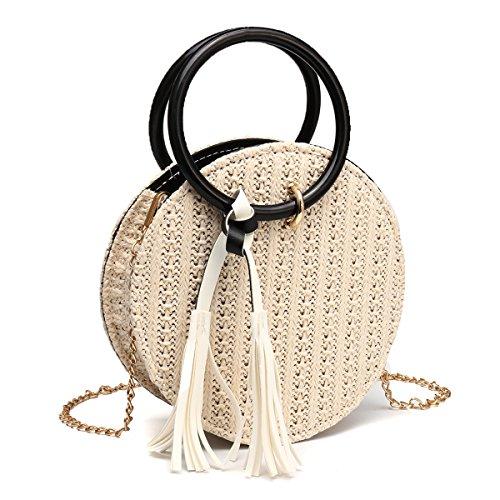 Bolsas redondas de paja,OURBAG Bolso bandolera pequeño mujer retro Bolsa de embrague de playa de verano Negro Blanco
