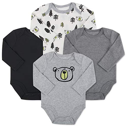 Baby Essentials 4-Pack Long Sleeved Bodysuits (9 Month, ()