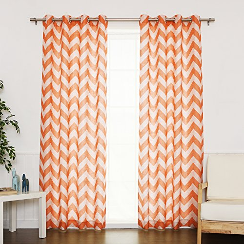 Best Home Fashion Flax Linen Blend Textured Chevron Print Curtains – Stainless Steel Nickel Grommet Top – Orange – 52″W x 84″L – (Set of 2 Panels) For Sale