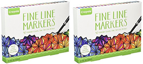 Crayola Adult Coloring, 40Ct Fine Line Markers- 2 Pack