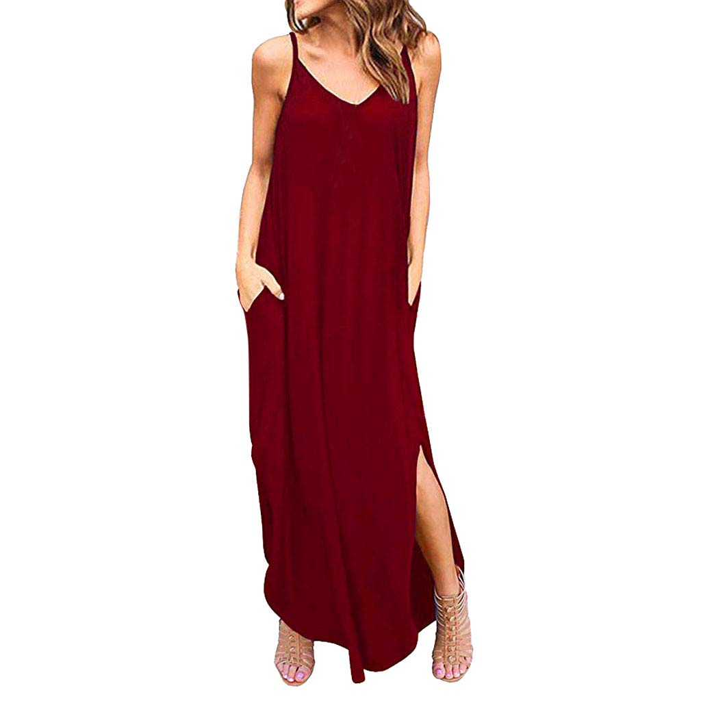 Summer Women Loose Casual Pockets Strappy Long Dress Beach Cami Split Maxi Dresses (Red, S)