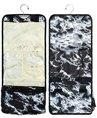 - Best Black White Marble Print Hanging Toiletry Shaving Shower Jewelry Case Overnight Travel Organizer Bag Kit Pouch Trendy Unique Special Cute Summer Fun Gift Idea for Dad Son Boy Him Men Unisex