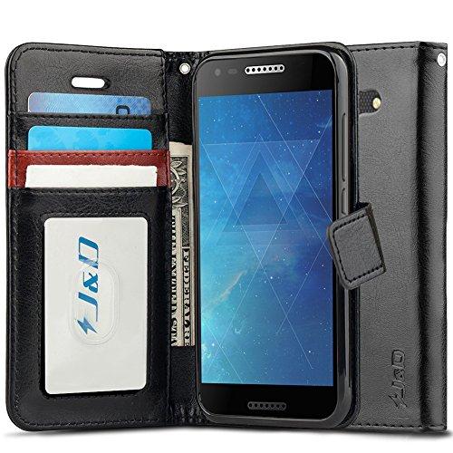 J&D Case Compatible for Alcatel A30 Case, [Wallet Stand] [Slim Fit] Heavy Duty Protective Shock Resistant Flip Cover Wallet Case for Alcatel A30 Wallet Case - Black