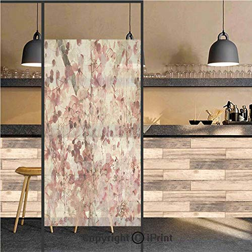 3D Decorative Privacy Window Films,Grungy Effect Cherry Blossoms on Ribbed Bamboo Retro Background Floral Art Work,No-Glue Self Static Cling Glass film for Home Bedroom Bathroom Kitchen Office 17.5x48